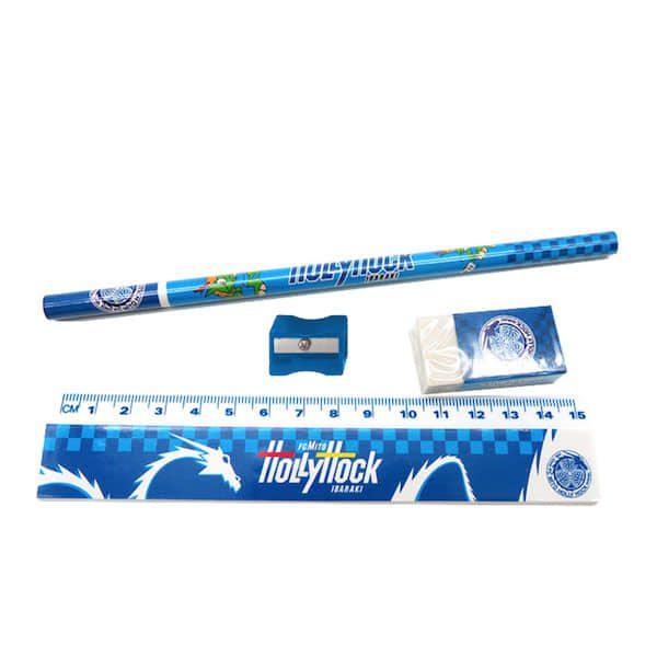 「消しゴム」「鉛筆」「定規」「鉛筆削り」「ペンケース」5点セットの激安文具セット